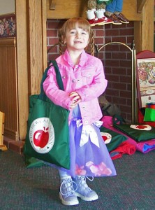 Sabrina Bussell 4 years old in preschool. A princess in snow boots.